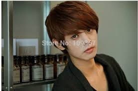 hair style that is popular for 2105 handsome boys wig new korean sexy short light brown men s hair