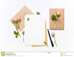 Flat Invitation Cards Letter Envelope And Gift On White Background Invitation Cards