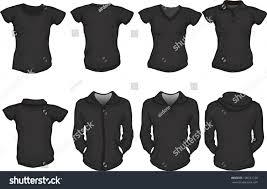 vector set female shirts template black stock vector 109221728