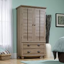 sauder bedroom furniture harbor view armoire salt oak hayneedle