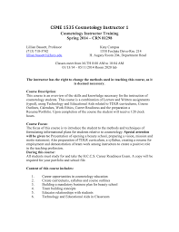 Cosmetology Skills For Resume Csme 1535 Cosmetology Instructor 1 Doc