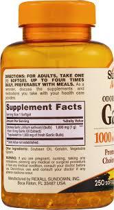 Rexall Floor Plan Sundown Naturals Dietary Supplement Odorless Garlic 1000mg 250