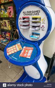 Ticket Desk Uk National Lottery Ticket Desk In A Corner Shop Stock Photo