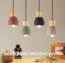 Ceiling Pendant Light Fixtures Loft Industrial Light Cement Wood Pendant Light Fixture