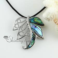 leather necklace pendants images Leaf openwork sea water pink rainbow abalone yellow oyster shell jpg