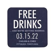 save the date coasters free drinks save the date coasters