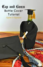 graduation cap covers apples to applique cap and gown chagne wine bottle cover