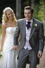 Country Style Wedding Tuxedos Classic Gray Wedding Tuxedos Tails Suits For Men Cheap Jacket And