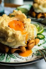 cloud eggs with spicy tomato waffles bake street com bake