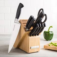 kitchenaid gourmet forged u0027delrin u0027 wood knife block combo set of