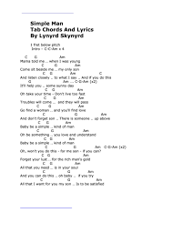 simple man lyrics printable version simple man tab chords and lyrics by lynyrd skynyrd printable pdf