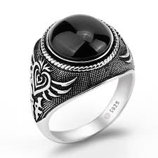 real stone rings images Real 925 sterling silver men ring black big agate natural stone jpg