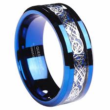 mens blue wedding bands 8mm blue tungsten carbide ring celtic blue carbon fibre