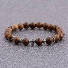 beaded bracelet with cross images Amader hot men natural wood beads cross bracelets onyx meditation jpg