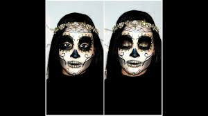 Sugar Skull Halloween Makeup Tutorial by Gold Rhinestone Sugar Skull Halloween Makeup Tutorial Youtube