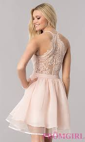 pink dress lace racerback homecoming dress promgirl