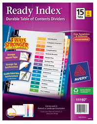 avery ready index 20percent recycled table of contents dividers 1
