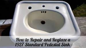 How To Repair And Reglaze A  Pedestal Sink YouTube - Reglazing kitchen sink