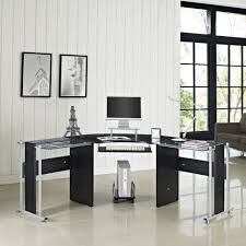 l shape computer desk pc glass laptop table workstation corner in