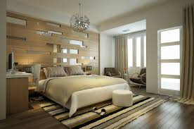gorgeous mirrored headboard with bedding and ottoman also