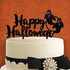 Halloween Cake Topper by Happy Halloween Wooden Cake Topper Black 6in Black With Silver