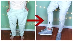 biker pants diy oversized pants to zipped biker pants kad transformation