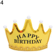 happy birthday hat kids baby led happy birthday princess king headband crown cap