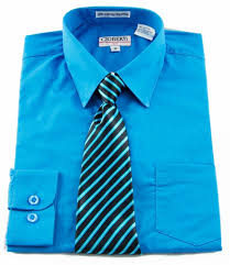 boys shirt and tie combination turquoise bst102