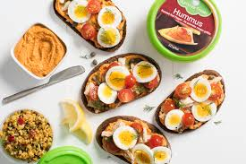 cuisine uilibr tuna and egg toast with hummus summer fresh