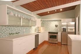 mid century modern kitchen design white drawer unit cast iron sink