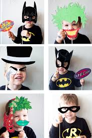 free halloween costumes batman party with free photobooth mask prop printables party