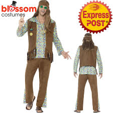 ca399 mens hippie disco costume 1960s hippy fancy dress up retro