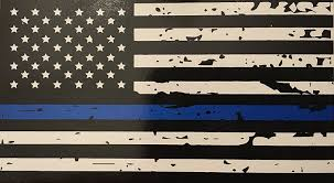 Blue Flag With White Star In The Middle Amazon Com Blueline Flags Tattered Thin Blue Line Vinyl