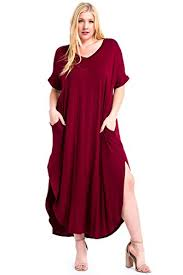 12 ami plus size solid v neck pocket loose maxi dress made in