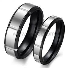 Couple Wedding Rings by Engraved Black Titanium Simple Couple Wedding Bands Set For Two