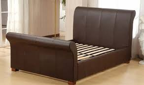 King Size Sleigh Bed Frame Luxurious Brown Kingsize Kingston Real Leather Sleigh Bed