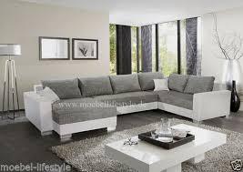 sofa grau weiãÿ wohnlandschaft xl format ecksofa im u form in weiss grau sofa