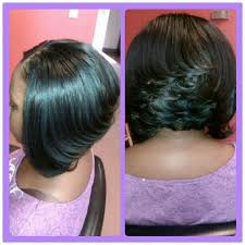stacked bob haircut hairstyle for black women partial sew in