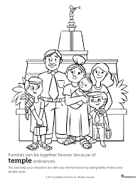 family at the temple primary coloring page for kids lds for