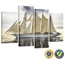 Sailboat Home Decor Framed Classic Sailboat Seascape Modern Canvas Art Picture Prints