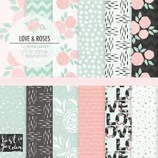 Designs For Invitation Card Floral Digital Paper Pack In Pink And Mint Wedding Patterns For
