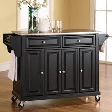 black kitchen island with stainless steel top stainless steel top kitchen island wood black crosley target