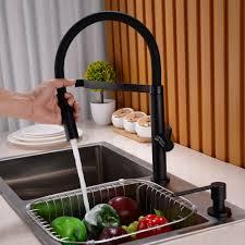 aliexpress com buy black u0026 chrome solid brass spring kitchen
