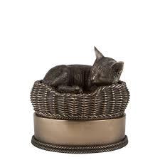 pet urns for cats cat in basket pet memorials cast cremation urn monuments