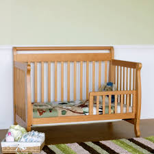 Baby Crib Convertible To Toddler Bed Davinci Emily 4 In 1 Convertible Baby Crib In Oak W Toddler Rail