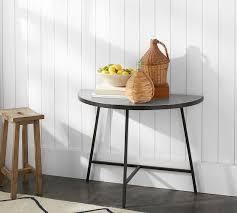 Demilune Console Table Quinton Galvanized Demilune Console Table Pottery Barn