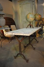 Vintage Bistro Table And Chairs Antique French Double Long Garden Bistro Table With Marble Top