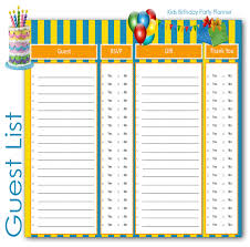 Guest List Spreadsheet Template Party Guest List Reunion Party Invitations