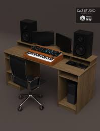 Studio Desk Furniture by Studio Desk And Retro Synth 3d Models And 3d Software By Daz 3d