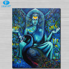 blue budda and peacock wall picture abstract art wall painting for